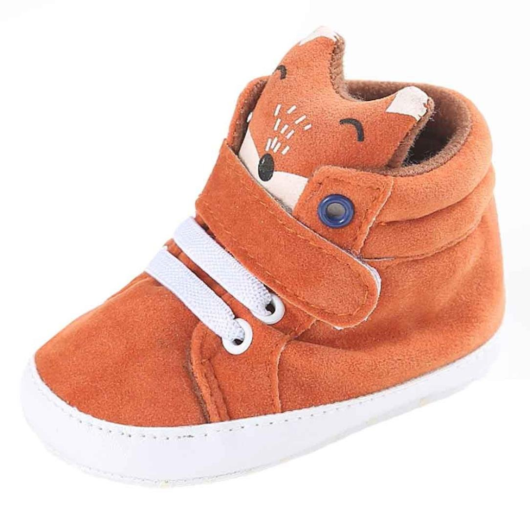 DDLBiz Baby Girl Boy Fox High Help Anti-slip Soft Sole Shoes Sneaker (12~18 Month/5.1inch)