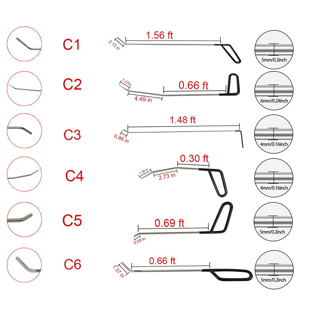 MMPP PDR Tools 20 Pieces of PDR Rods Set Kit with Tool Bag Paintless Dent Repair Tools Kit Hail Rods Repair Tools Dent Removal of Hail Dents and Door Ding by MMPP (Image #4)