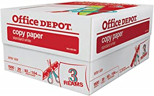 Office Depot 3-Ream Case, Copy Fax Laser Inkjet Printer Paper, 8 1/2 x 11 inch Letter Size, 20 Lb., 92 Bright White, 1500 Sheets Total (436664)