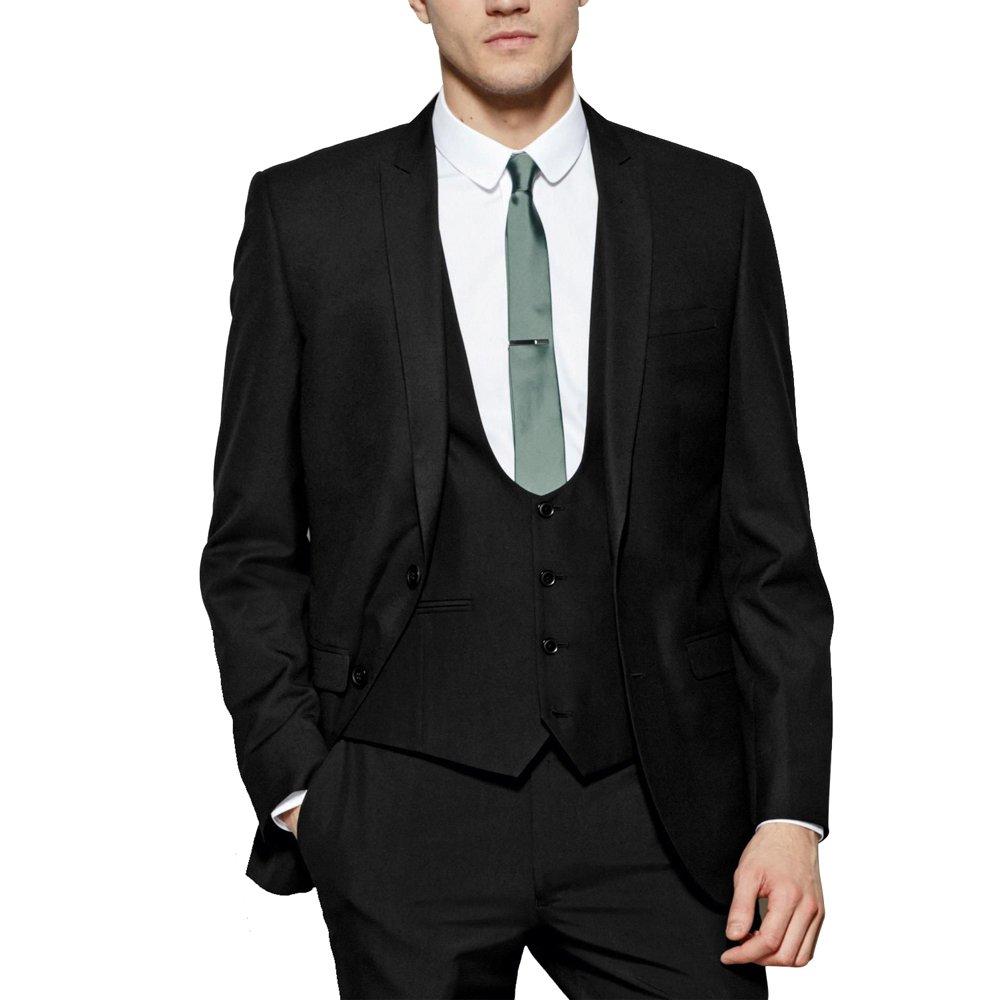 Jacket Vest Pants HBDesign Mens 3 Piece 2 Button Business Fashion Suits Black