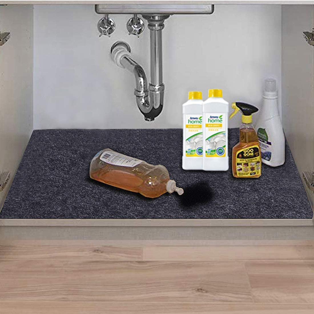Under The Sink Mat,Kitchen Tray Drip,Cabinet Liner,Fabric Layer,Waterproof Layer,Reusable,Washable (36inches x 36inches)