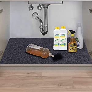 Under The Sink Mat,Kitchen Tray Drip,Premium Cabinet Liner-Absorbent/Waterproof/Reusable/Washable-Protects Cabinets,Drawers,Contains Liquids (36in x 24in)