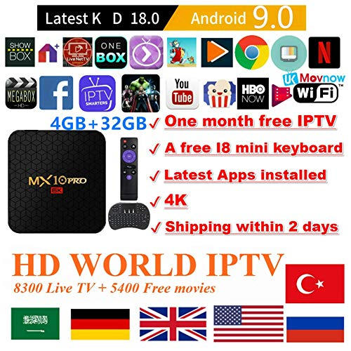 Android TV Box Android 9.0 OS TTV Box 4GB 32GB MX10 Pro USB 3.0 2.4G- 5G Dual-Band Wi-Fi 3D 4K Full HD H.265 100M Ethernet +1 Month IPTV Subscription+ Mini Wireless Keyboard Remote