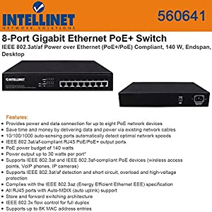 Intellinet 560641 Ethernet Switch 8 Port PoE+ Desktop Gigabit