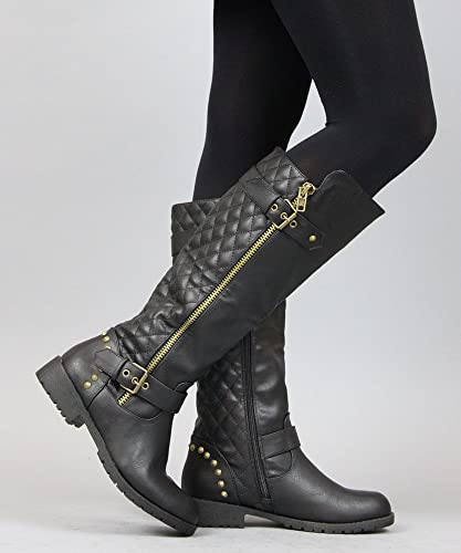 Amazon.com | Women\'s Vivienne-01 Studded Quilted Leatherette ...