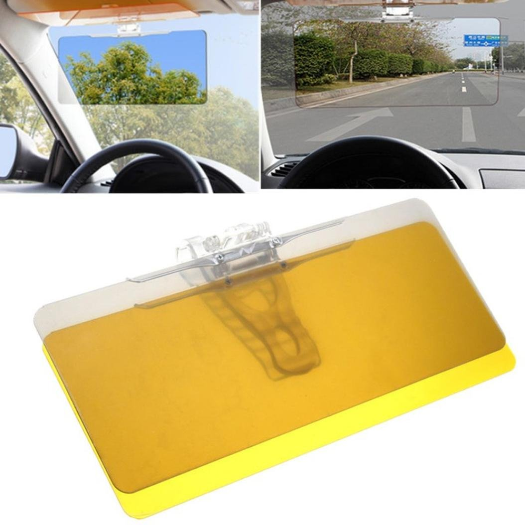 Quaanti Car Sun Shield,Hot Selling Car Transparent Anti-Glare Glass Car Sun Shield Vision Visor for Day/Night Gift (Yellow)