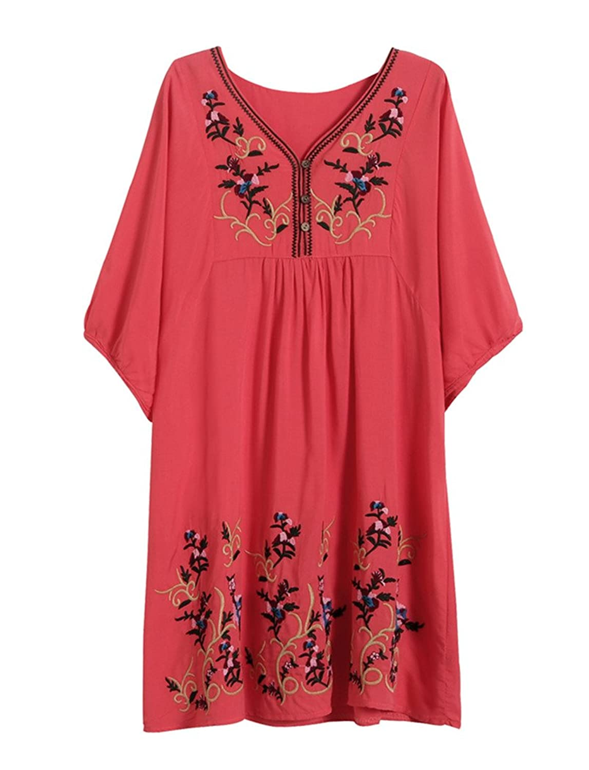 Kafeimali Women's T-shirt Tunic Dresses Mexican Embroidered Peasant Tops Blouses