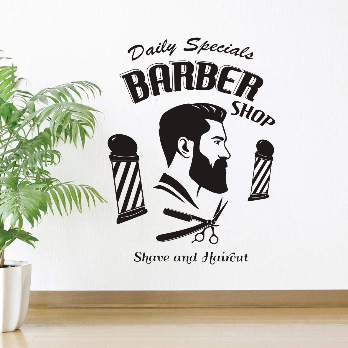 Barbershop wall sticker man salon vinyl man hairdresser wall decal window decal removable quote hairstyle mustache wall art decor mural sy431 57x78cm