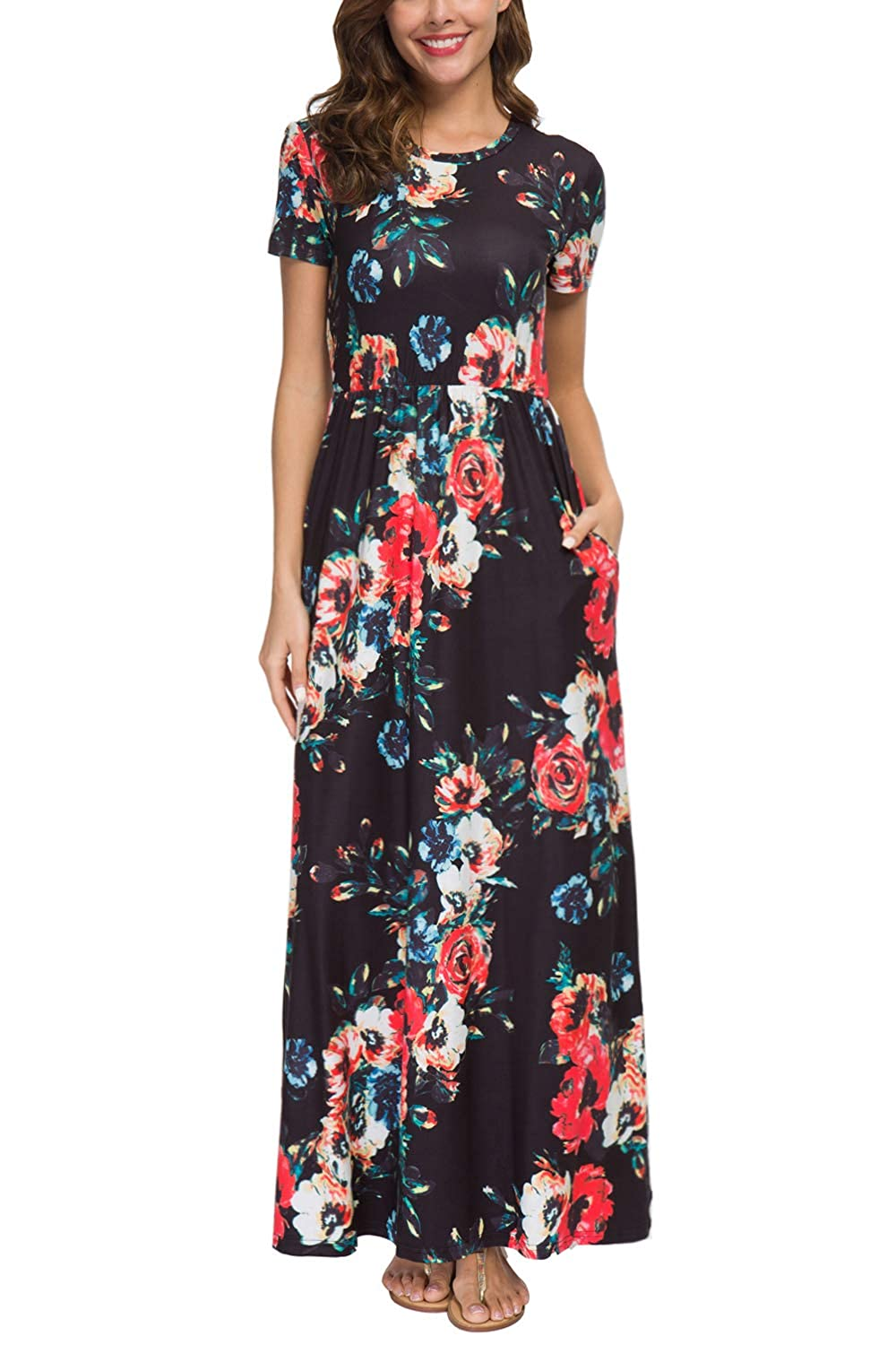 4e214483bfb6 Zattcas Womens Summer Casual Short Sleeve Long Floral Maxi Dress with Pockets  at Amazon Women s Clothing store
