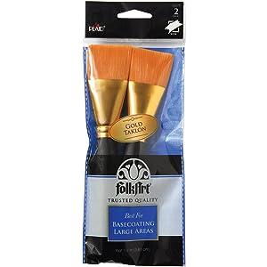 Plaid 50557E Folkart Golden Taklon Basecoating Brush Set, 2/Pkg