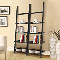 Topeakmart Living Room Wooden 70 Inch 5 Tier Leaning Ladder Shelf Bookcase Bookshelf Stylish Display Storage