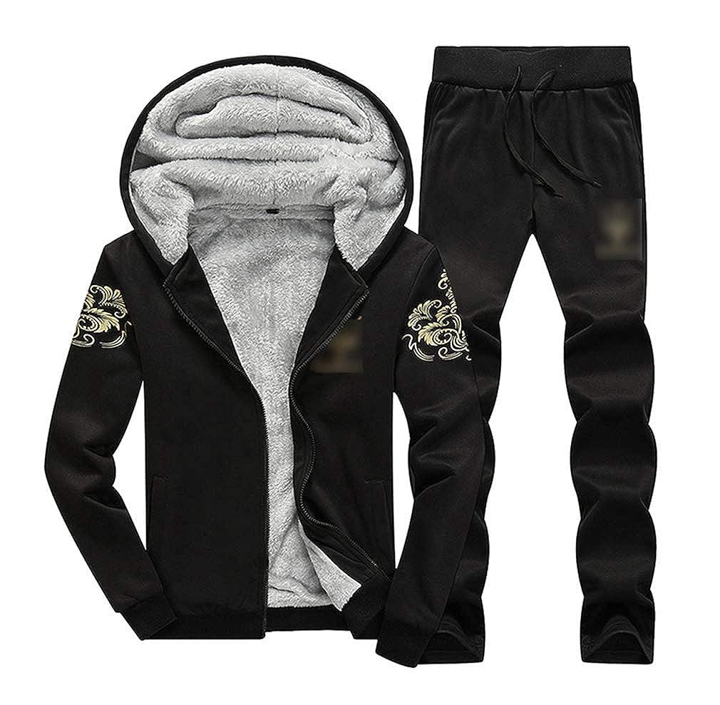 LvRaoo Uomo Tute da Jogging Sportiva Felpa con Cappuccio e Pantaloni Cappotto Giacche Invernali Caldo Tuta Vello Foderato Zip Up Giacca