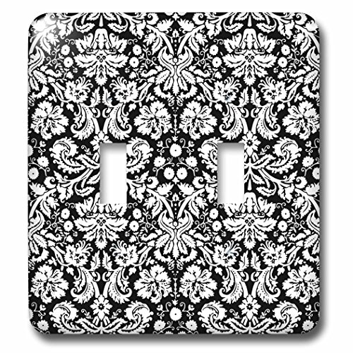 3d Rose 3dRose lsp_151442_2 Black Damask with White Styli...