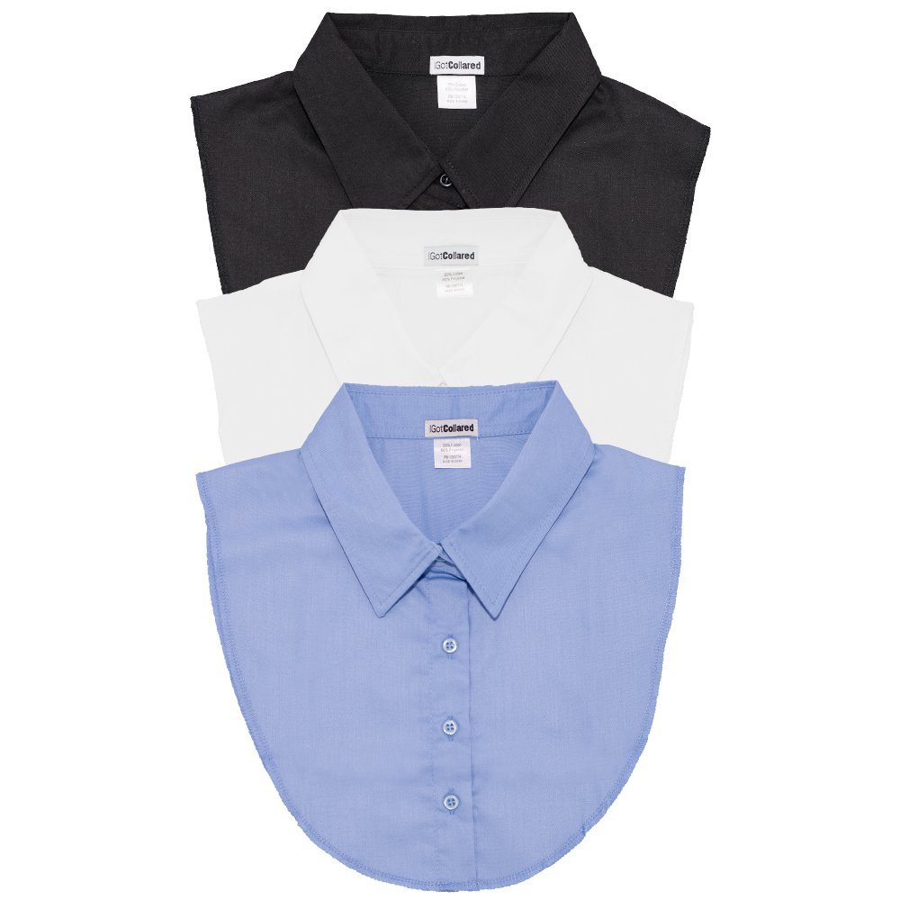 LS Parry Inc. Unisex-Adult's 3Pk Black/Lt Blue/White Collared Dickies by IGotCollared, Light, One Size by LS Parry Inc.