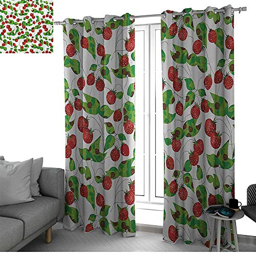 ow Curtains for Living Room Summer Vibes with Strawberry Branch Garden Leaf Nature Joyful Season Print Short Curtain Red Fern Green White W96 x L108 Inch ()