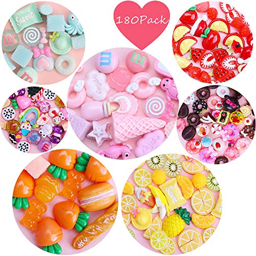 Habbi Slime Charms Set 180pcs Slime Charms Mixed Fruit Candy Food Resin Flatback Cute Slime Beads for DIY Crafts Making, Ornament Scrapbooking]()