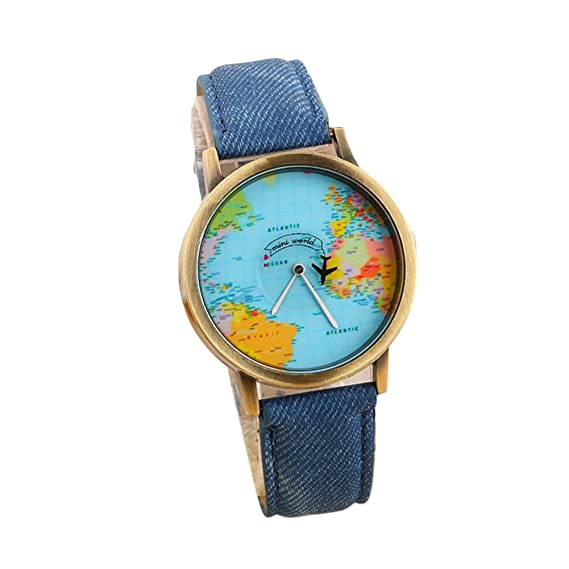 Tpfocus unisex casual aircraft pointer world map background denim tpfocus unisex casual aircraft pointer world map background denim canvas watchband quartz watch blue amazon watches gumiabroncs Gallery