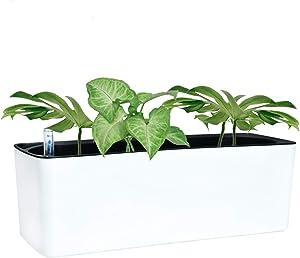 YoleShy Self Watering Planter with Fiber Soil 16 Inch White Plastic Indoor Window Planters for Herbs Plants Flower, Indoor Home Garden Decoraion