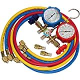5FT AC Diagnostic Manifold Freon Gauge Set for R410A R404A R22 R134A R12 R22 and R502 Refrigerant AC House Air Condition…