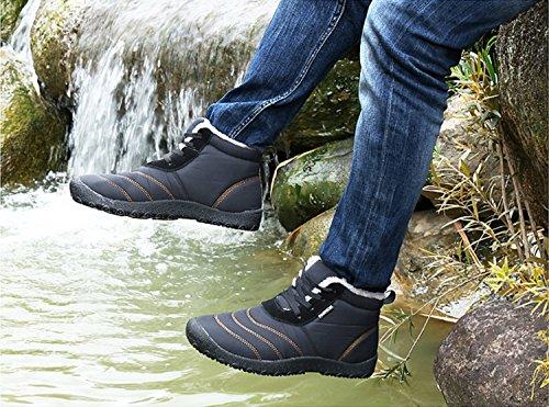 1 Blue Invernali 36 Botas 48 Neve Stivali Grigio Outdoor Nero nero Caviglia de Caldo Scarpe Impermeabile Stivaletti Uomo Rioneo Piatto n6IWqT7aHI