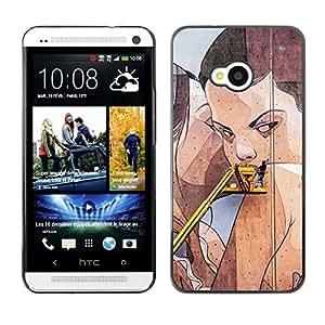 TopCaseStore / la caja del caucho duro de la cubierta de protección de la piel - Street Art Drawing Wall Lesbian Woman - HTC One M7