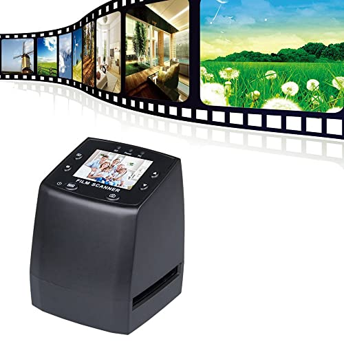 14 Megapixel High Resolution Slide and Movie Scanner, 2.4 Inch TFT LCD Display and B/W Conversion, Negative Film and Slide to JPEG Digital for SD Card, Slide Feeder Included