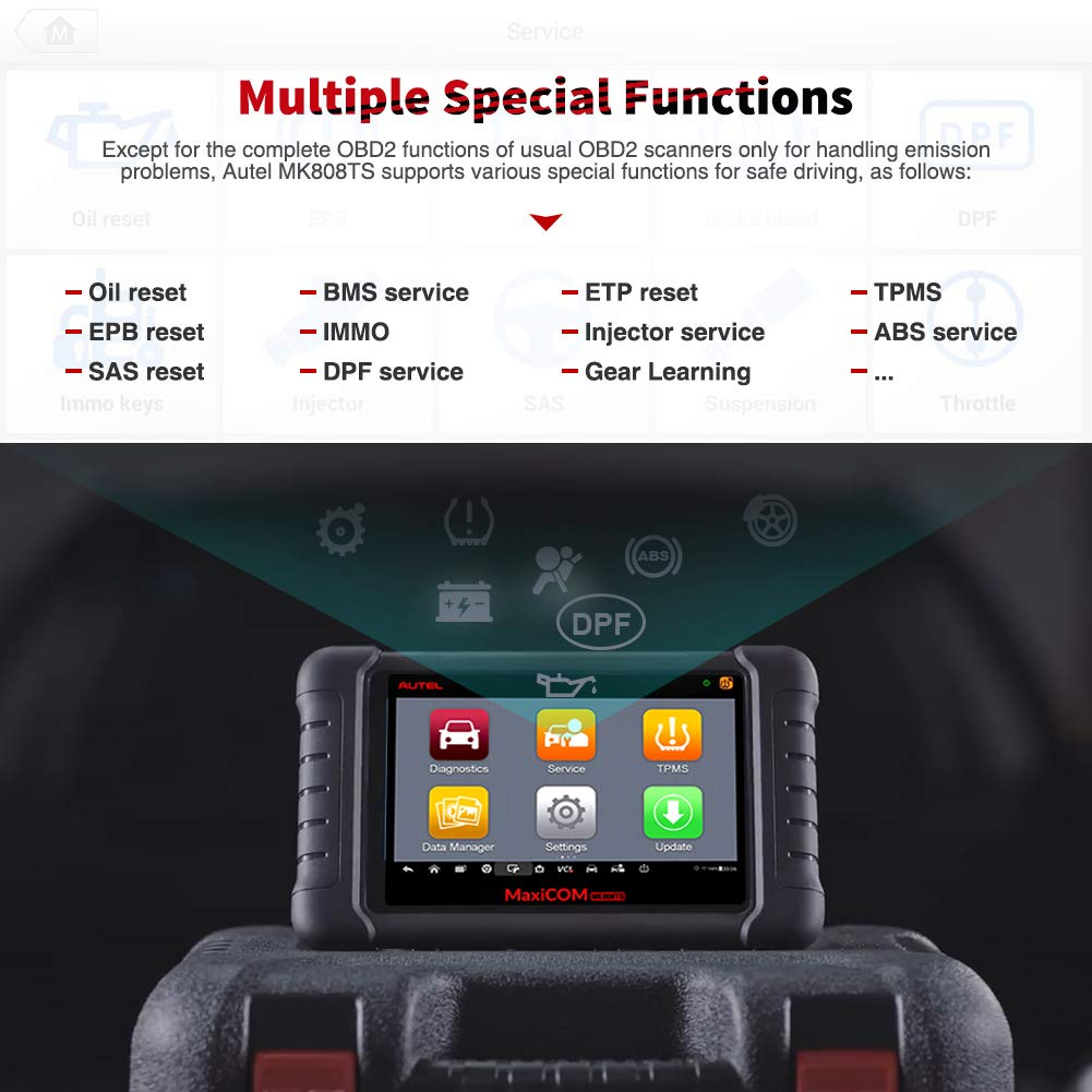 Autel MaxiCOM MK808TS Enhanced Diagnostic Scan Tool of MK808BT and MK808 with Complete TPMS Functions, Full Systems Diagnoses and Reset Services including EPB, BMS, SAS, DPF, Oil Reset IMMO Service et by Autel (Image #2)