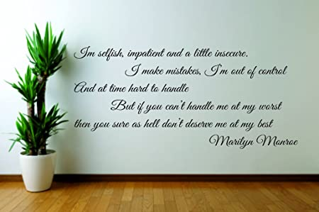 Marilyn Monroe Dont Deserve Me Wall Art Quote Sticker Decal Amazon