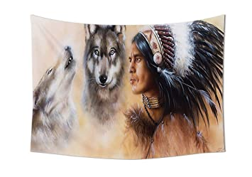 Native American Decor Wandteppich Für BLUR Mystic Malerei Von Young  Indischen Mann In Ethnic Feather Mit