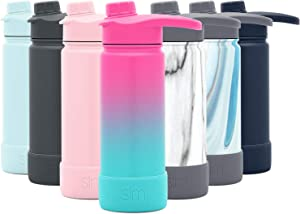 Simple Modern 18 Ounce Summit Water Bottle with Chug Lid & Protective Boot - Hydro Vacuum Insulated Flask 18/8 Stainless Ombre: Sorbet