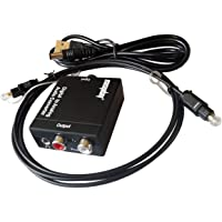 Easyday 192kHz DAC SPDIF Toslink Optical Coax Digital to RCA 3.5mm Analog Audio Converter Adapter with Fiber Cable