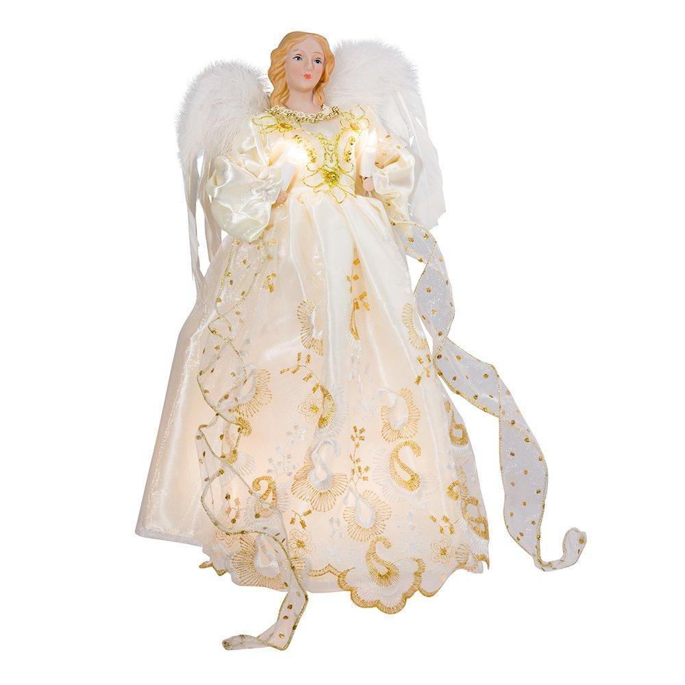 Kurt Adler UL 10 Light 14-Inch Gold Angel Treetop UL1074