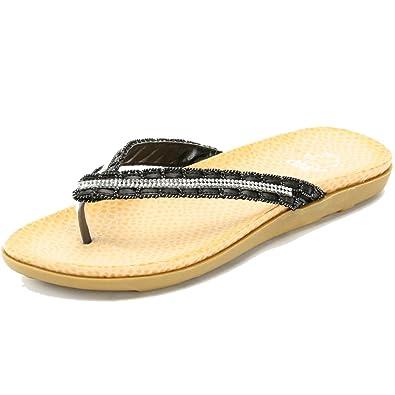 93a4e7056 Alexis Leroy Diamante Flat Sandals Women Flip Flops Black 3 UK   36 EU