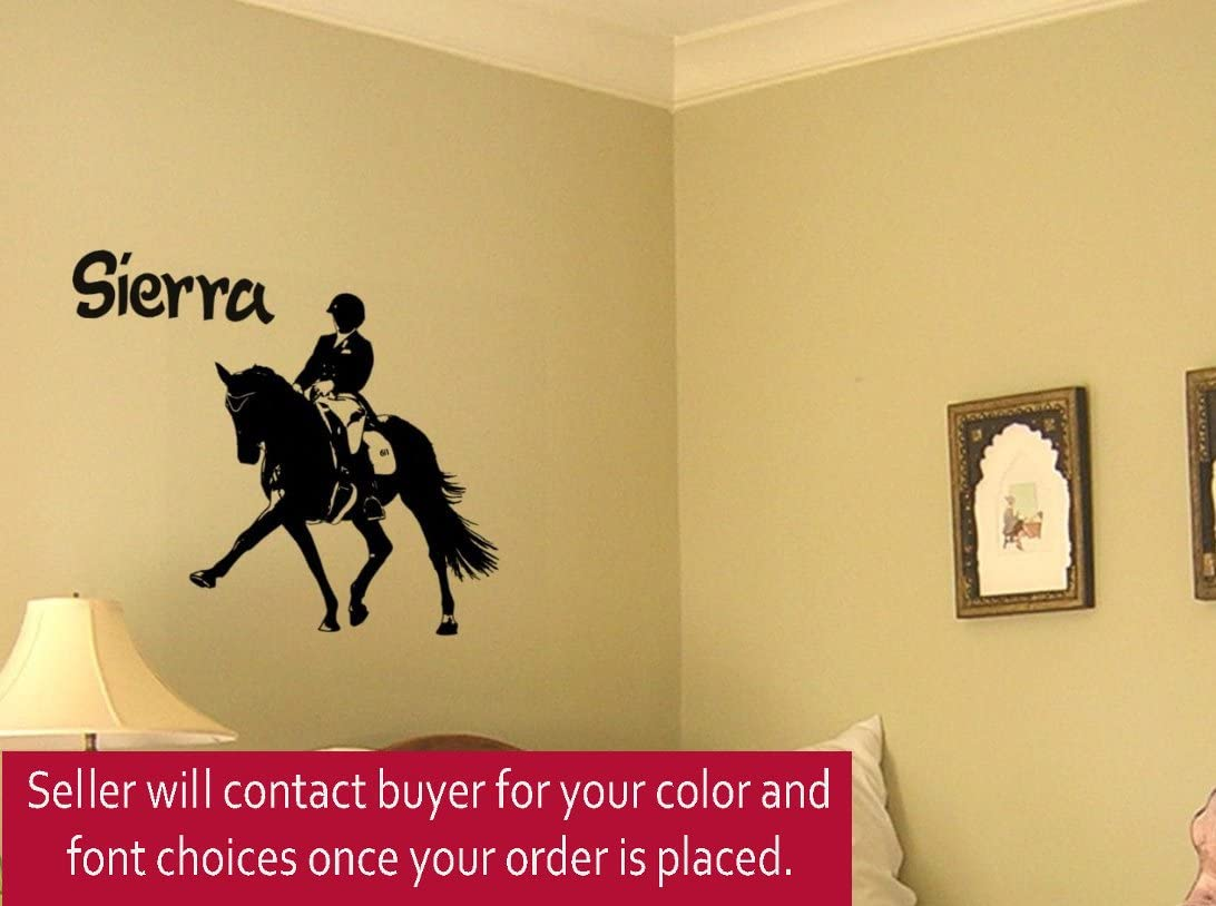 Horse Wall Decal, Dressage Sticker, Personalized Girls room decor, 30 X 31 inches