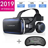 VR SHINECON Original 6.0 VR Headset Version Virtual Reality Glasses Stereo Headphones 3D Glasses Headset Helmets Support 4.7-6.0 inch Large Screen Smartphone (with Controller SC-B01) (Color: With Controller Sc-b01)