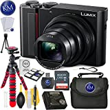 Panasonic Lumix DC-ZS200 Digital Camera (Black) + 32GB Memory + K&M Basic Accessory Bundle