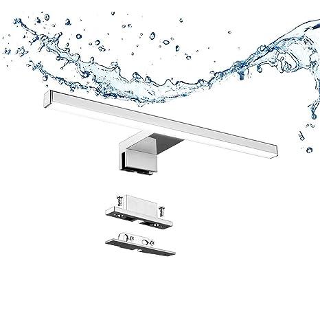 Aogled Lámpara de Espejo Baño 5W 400LM 30cm 230V 4000K,Lámpara de Acero Inoxidable 3 en 1 IP44 Clase II Baño Luz 300mm ,Lámpara Aplique Espejo ...