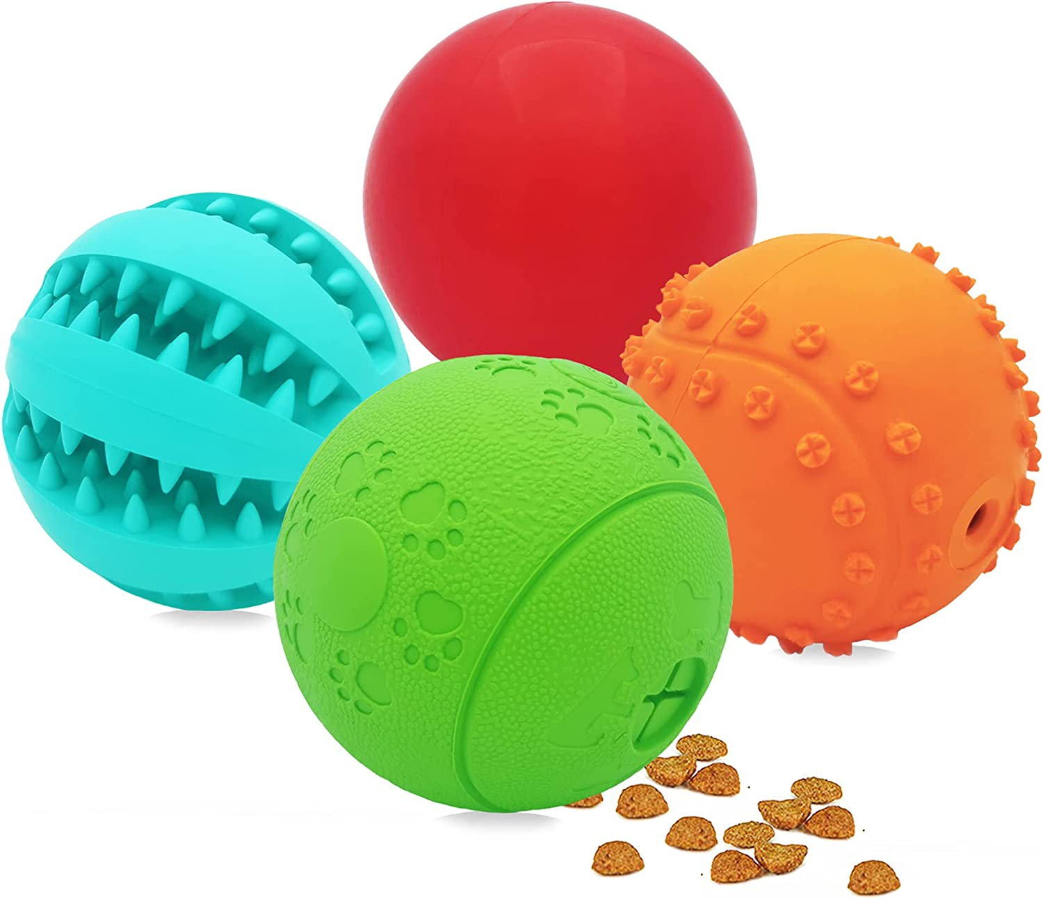 Dog Toy Balls, Pack of 4 Durable Dog Puzzle Ball Toys for Puppy Small Medium Breed Dogs Interactive Pet Dog Ball Chew Toys for Teething Cleaning/Food Treat Dispenser for IQ Training/Squeaky Balls Toys