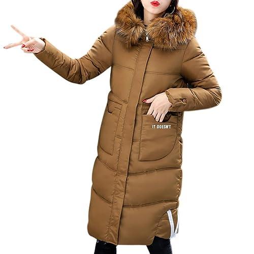 K-youth® Largos Abrigos De Mujer Invierno Plumas Chaqueta Parka Espesar con Capucha Pelaje Collar