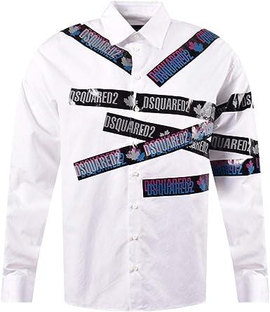 DSQUARED2 - Camiseta de manga larga con logo impreso, color blanco: Amazon.es: Ropa y accesorios