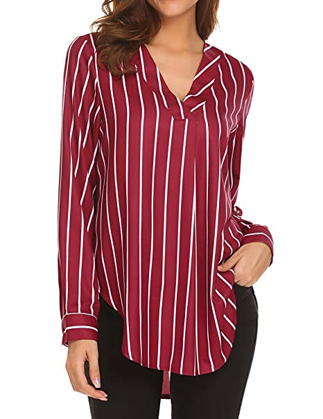 45f4bf61cbe4f6 Sherosa Women Red and White Striped Shirts V Neck Blouses Ladies Tops(S  Wine Red