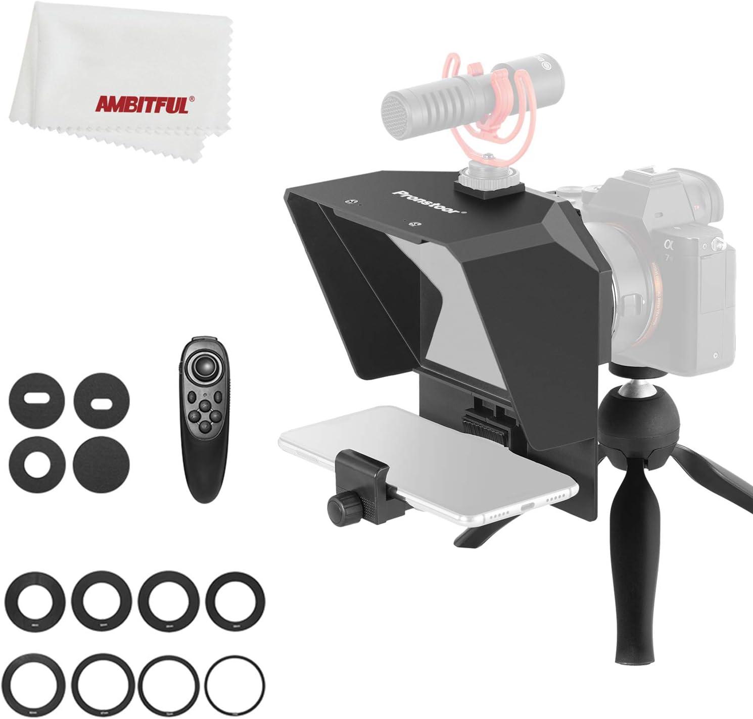 AMBITFUL Teleprompter Kit portátil Inscriber Teléfono Móvil Teleprompter Artefacto Video con mando a distancia para grabación de teléfono y DSLR (Mini Teleprompter+Mini Trípode)