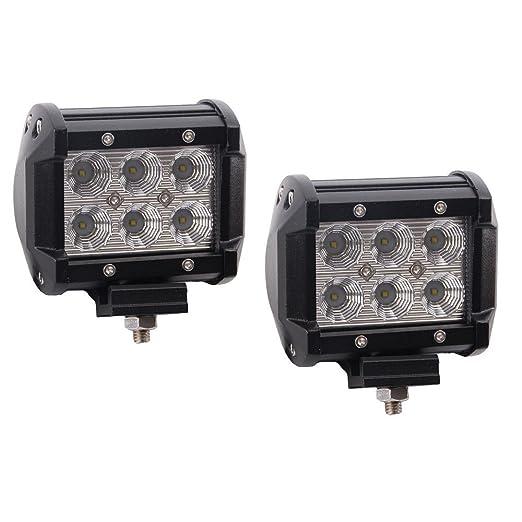 SAILUN Luz de trabajo 18W LED Proyector Offroad Proyector Reflector Proyector 1500LM Aluminio Negro Fundición inyectada IP67 2 piezas por juego