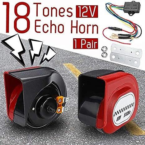 1 par de bocinas Echos de 18 tonos de 12 V, 105 dB, alarma ...