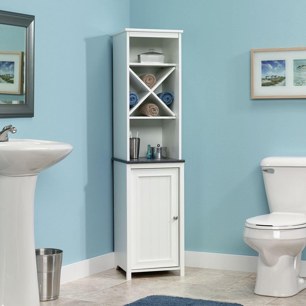 Amazon.com: Sauder Linen Tower Bath Cabinet, Soft White Finish: Kitchen & Dining - Amazon.com: Sauder Linen Tower Bath Cabinet, Soft White Finish