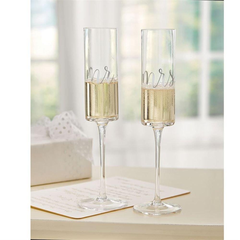Mud Pie 4465069 Mrs. Wedding Champagne Glass Set, One Size, Black