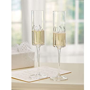 Mud Pie 4465069 Mrs. Wedding Champagne Glass Set, One Size, Black