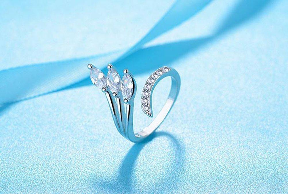 Aiuin Flash Diamant Bague en argent cristal r/églable ouvert Anneaux Bijoux de mariage pour femme X 1/pcs