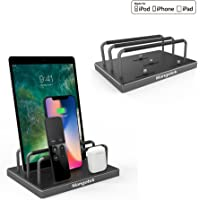 Mangotek 4 Port Family Charger Organizer Dock Stand with Original Lightning Connector for Apple iPhone X/ 8/8 Plus/7/7 Plus/iPad/Airpods, MFi Certified