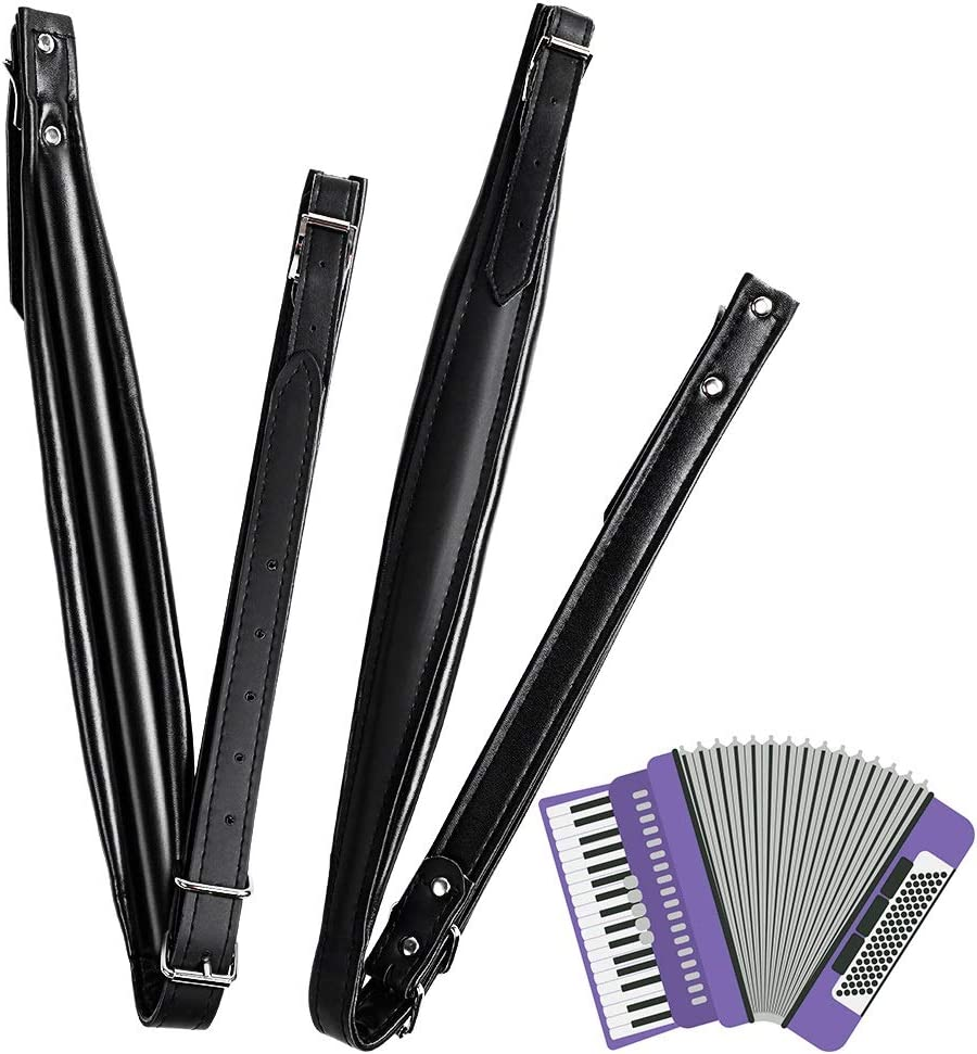 2 Pack Accordion Shoudler Straps Adjustable Accordion Belt Set Durable Wear-resistant PU Material Hardness Strap for 16-120 Bass Accordion